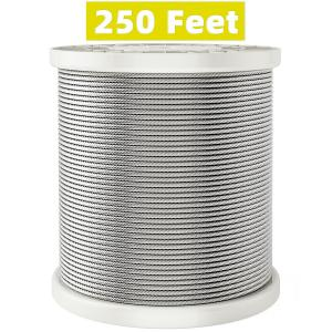 HOSOM 1/8 Stainless Steel Cable, 250 ft Wire Rope